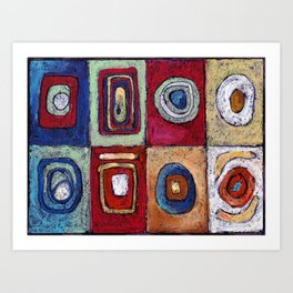 Buffet - abstract multi-colored pastel drawing. Good painting for a modern interior Art Print