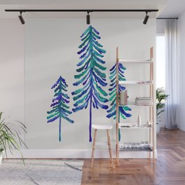 Pine Trees – Navy & Turquoise Palette Wall Mural