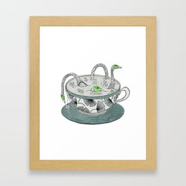 Tea with birds. Framed Art Print