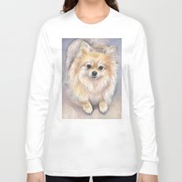 pomeranian Long Sleeve T-shirts featuring Pomeranian Watercolor Pom Painting by Olechka