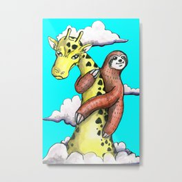 sloth and giraffe Metal Print