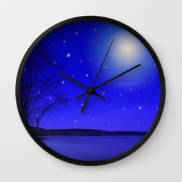 Moon and Stars Landscape Wall Clock