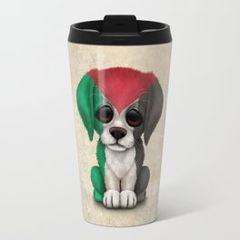Cute Puppy Dog with flag of Palestine Travel Mug