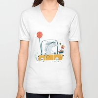 birthday V-neck T-shirts featuring Happy birthday! by Villie Karabatzia