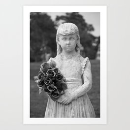 Girl Statue Closeup Black & White Art Print