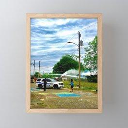 Fighting Fire Framed Mini Art Print