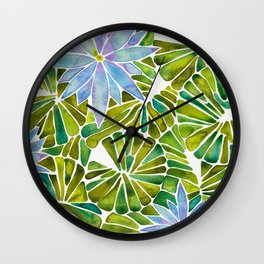 Water Lilies – Lavender & Green Palette Wall Clock