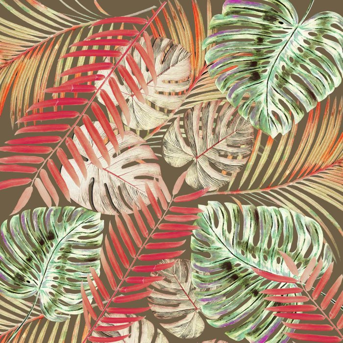 Jungle Tangle Red On Brown Comforters