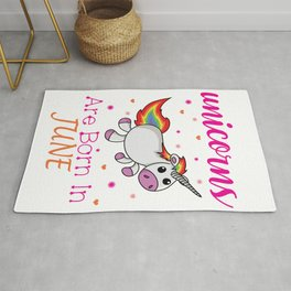Unicorns are Born in July Birthday Cute T-Shirt for Girl Rug