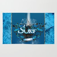 surfing Area & Throw Rugs featuring Surfing by nicky2342