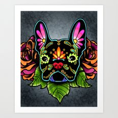 Day of the Dead Black French Bulldog Sugar Skull Dog Art Print