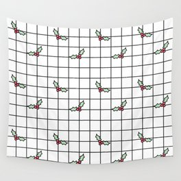 Holly Grid Wall Tapestry