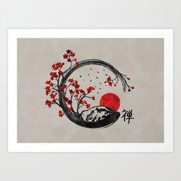 Enso Circle And Sakura Art Print