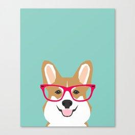 Teagan Glasses Corgi cute puppy welsh corgi gifts for dog lovers and pet owners love corgi puppies Canvas Print