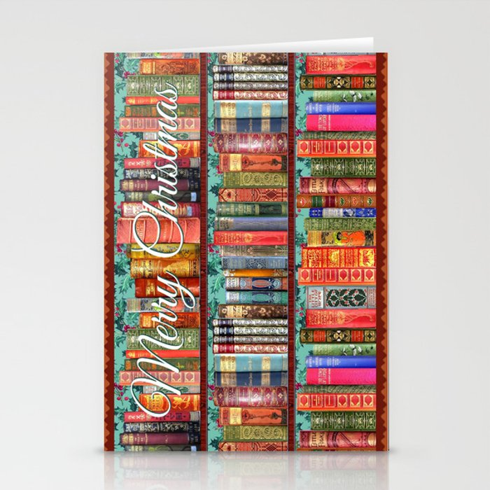 Vintage Books / Christmas bookshelf & holly wallpaper / holidays, holly, bookworm,  bibliophile Stationery Cards