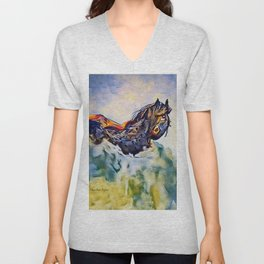 Wild Horse in Sea of Grass watercolor by CheyAnne Sexton Unisex V-Neck