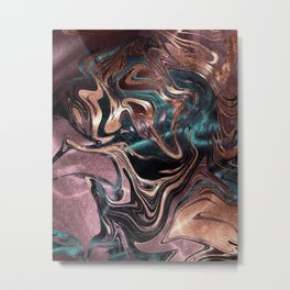 Metallic Rose Gold Marble Swirl Metal Print