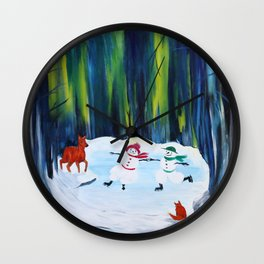 Christmas Night with dancing snowmen Wall Clock