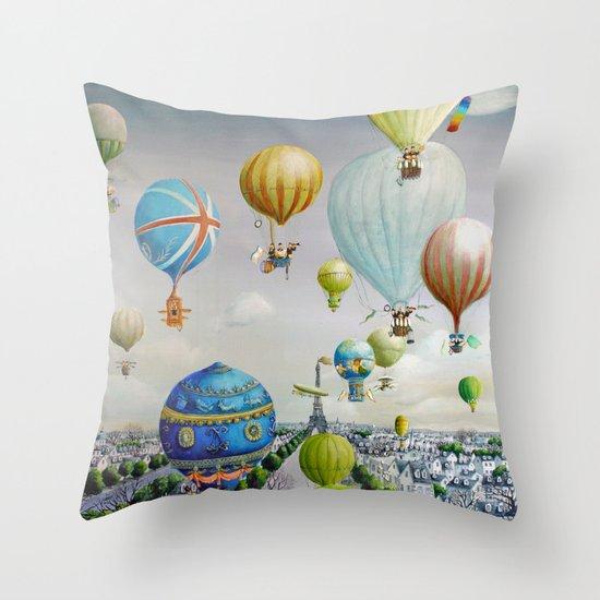 Ballooning over everywhere: Paris Throw Pillow