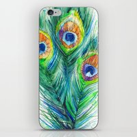 peacock feather iPhone & iPod Skins featuring Peacock feather  by Slaveika Aladjova