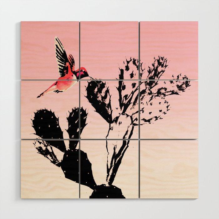 Cactus & humming bird Wood Wall Art