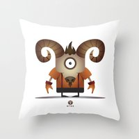aries Throw Pillows featuring ARIES by Angelo Cerantola