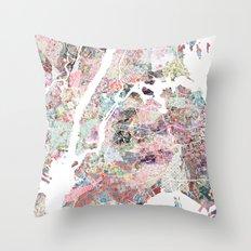 New York map flowers Throw Pillow