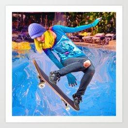 Skateboarding on Water Art Print