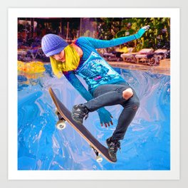 Skateboarding on Water Art Print