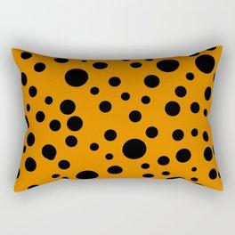 Geometric print black circles orange Rectangular Pillow