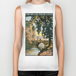 Bretagne et Normandie, French Travel Poster Biker Tank
