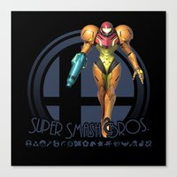 super smash bros Canvas Prints featuring Samus - Super Smash Bros. by Donkey Inferno
