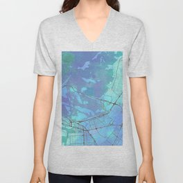 Abu Dhabi Street Map Art Watercolor Blue Unisex V-Neck