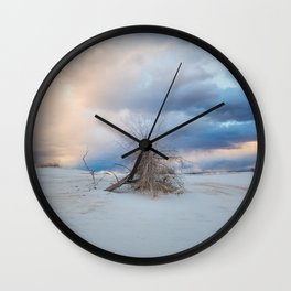 Adrift - Lone Tree In White Sands New Mexico Wall Clock