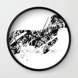 Dachshund in the snow Wall Clock