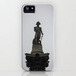 Admiral Nelson Statue atop Nelson's Column Trafalgar Square London England iPhone Case