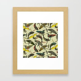whales and waves bold Framed Art Print