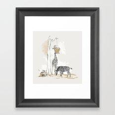 Zoo : Tigre, Zèbre, Girafe Framed Art Print