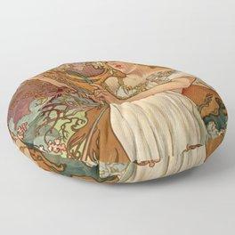 SPRING by Alphonse Mucha Floor Pillow