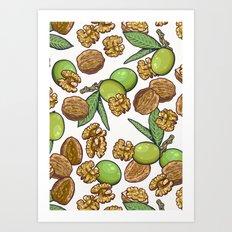 cheeky walnuts pattern Art Print