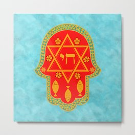 Hamsa for blessings and protection - turquoise red Metal Print