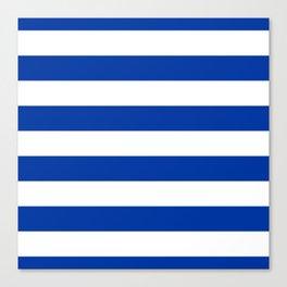 Dark Princess Blue and White Wide Horizontal Cabana Tent Stripe Leinwanddruck