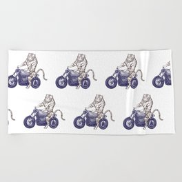 Tiger on a Motorcycle Beach Towel