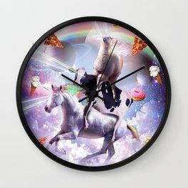 Laser Eyes Space Llama On Cow Unicorn - Rainbow Wall Clock