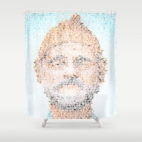 the life aquatic Shower Curtains featuring The Aquatic Steve Zissou by Robotic Ewe