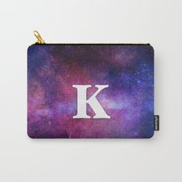 Monogrammed Logo Letter K Initial Space Blue Violet Nebulaes Carry-All Pouch