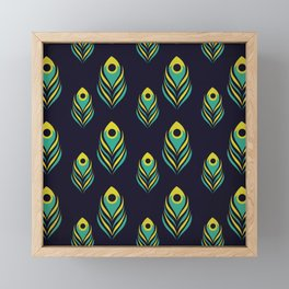 Peacock Feather Pattern on Black Framed Mini Art Print
