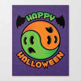 Happy Halloween Ghost Yin-Yang Canvas Print
