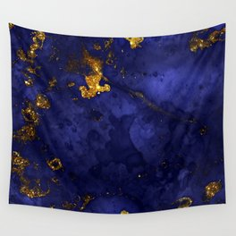 Gold Blue Indigo Malachite Marble Wall Tapestry
