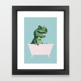 Playful T-Rex in Bathtub in Green Framed Art Print